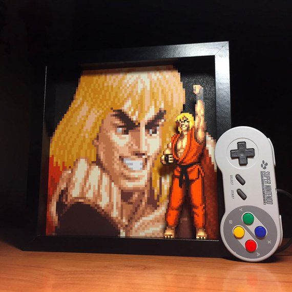 Street Fighter Video Game Decor Ken Portrait 3d Shadow Box 10 X10 Tablolar Ve Oyun