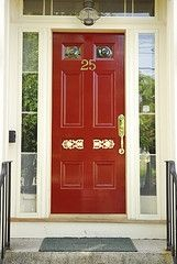 Like this style of door with the side panels and even the top panel. Don't know that I like the red color.