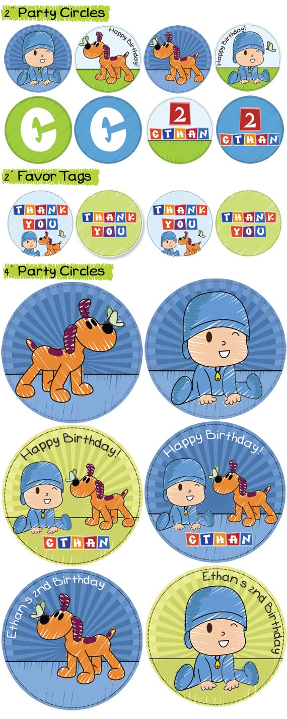 EDITABLE Personalized Collection - Pocoyo birthday Party decoration Package Set - DIY. $19.95, via Etsy.