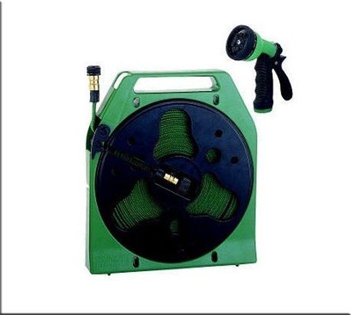 Retractable Flat Hose Reel Nozzle Expanding Flexible 50' Garden Lawn Yard Spray #Mintcraft