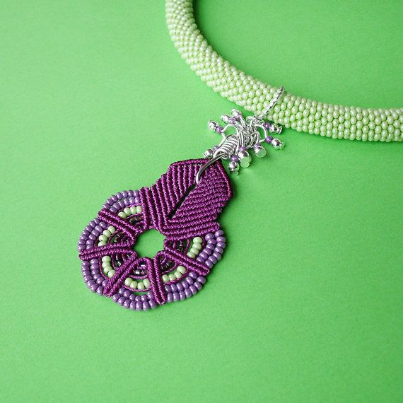 Crocheting Vs Macrame : Bead crochet necklace with micro macrame pendant by MartaJewelry,