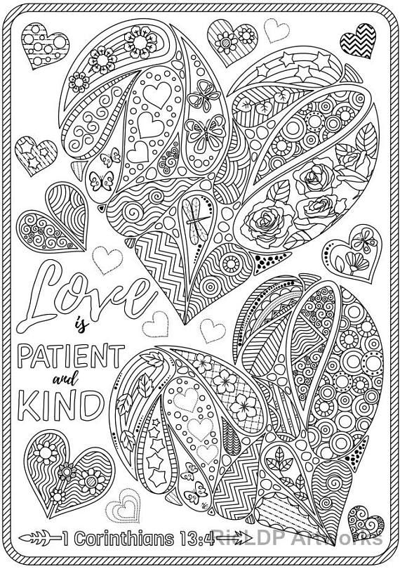 Set Of 3 Love Bible Verse Coloring Pages Corinthians Coloring