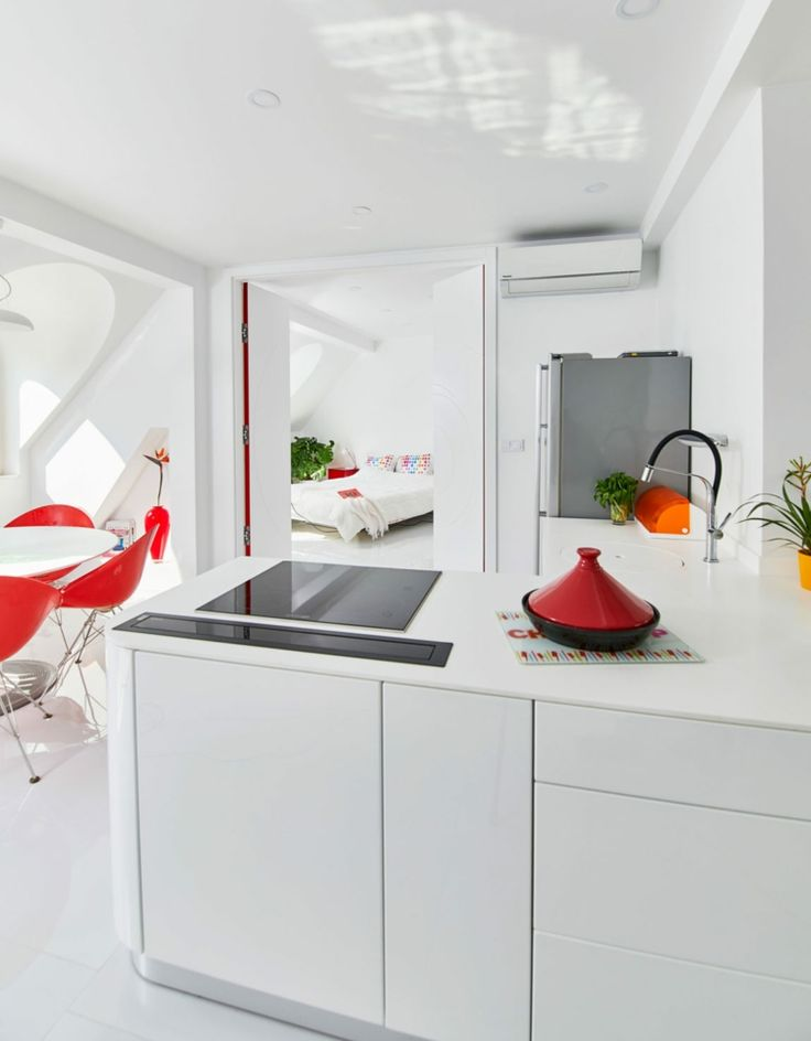 red-and-yellow-kitchen-white-minimalist decorations and white-wall design
