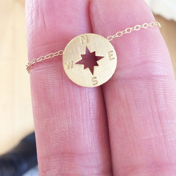 Gold necklace gold compass necklace dainty gold by AvaHopeDesigns