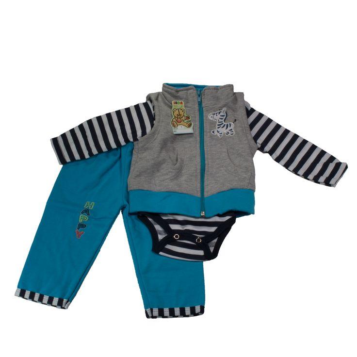 Hermoso conjunto para niño tres piezas, que brinda confort a tu príncipe. Ideal para salir de paseo. Contiene tres piezas como se muestra en la imagen. https://nibi-baby-store.pswebstore.com/baby-boy/22-conjunto-nino-zebra.html