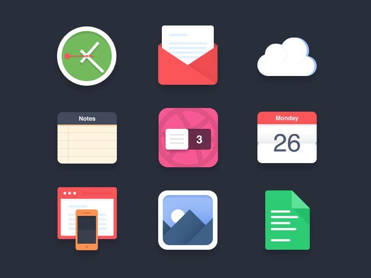 Flat icons (PSD) - 3 Dribbble invites by Pierre Borodin