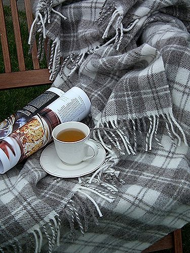 Soft cozy grey plaid blanket, hot tea in a pretty cup and a lovely magazine to savor....happy sigh