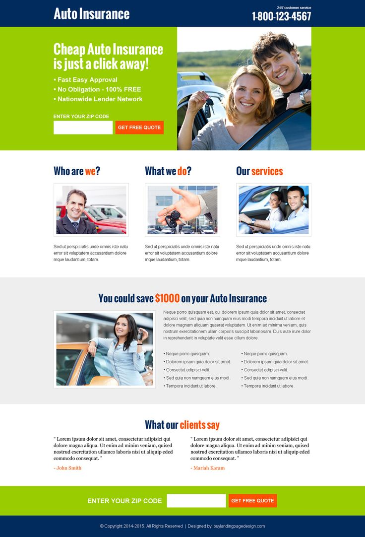 Cheap auto insurance free quote lead capture converting landing page design