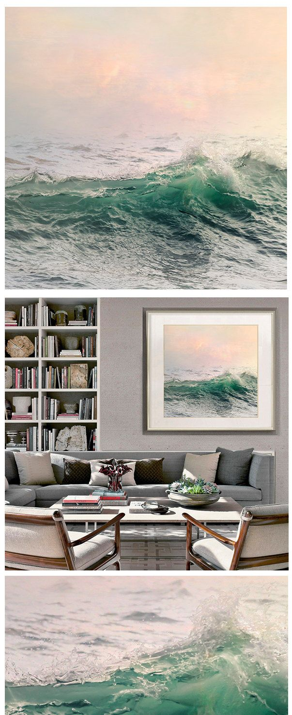 Large Sea wall art water landscape photography ocean wave art print pastel pink green nautical decor oversized photo poster 20x2024x24 (30.00 USD) by RivuletPhotography
