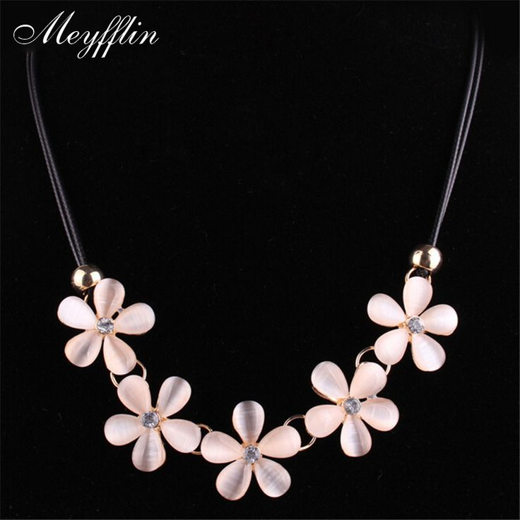 2017 Fashion Statement Necklaces & Pendant for women Flower Opal Necklace Collier Femme PU Leather Maxi Colares Jewelry Bijoux