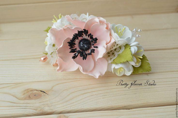 Купить Розовый анемон, заколка-автомат - цветы, заколка для волос, заколка с цветами, заколка для девушки