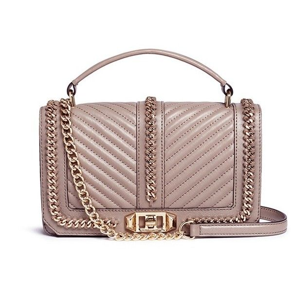 Rebecca Minkoff 'Love' curb chain quilted leather crossbody bag ($340) ❤ liked on Polyvore featuring bags, handbags, shoulder bags, neutral, rebecca minkoff crossbody, convertible purse, brown handbags, brown crossbody and convertible crossbody