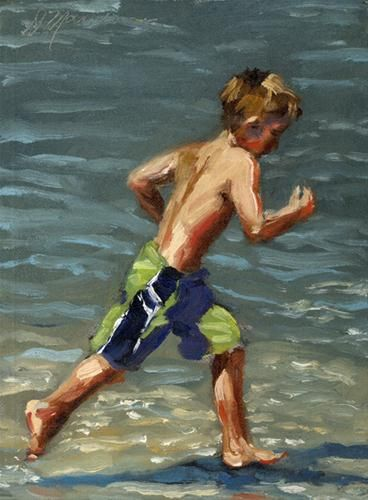 """Beach Runner"" - Original Fine Art for Sale - © Diane Mannion"