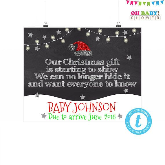 Christmas Pregnancy Announcement Sign Christmas Baby