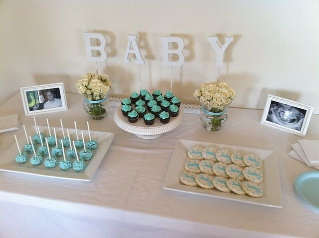 baby shower dessert table boy by thecupcaketable via flickr