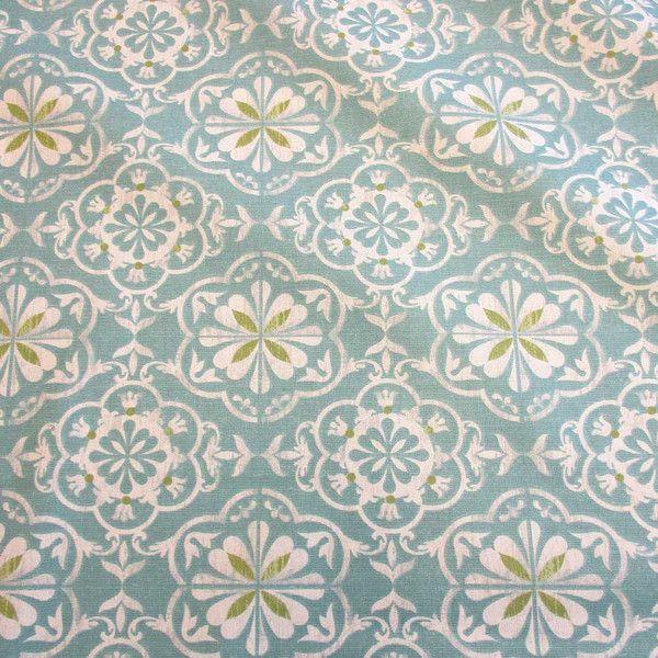 Stoff Sterne - Stoff beschichtet Ornamente Joao hellpetrol ecru   - ein Designerstück von werthers-stoffe bei DaWanda