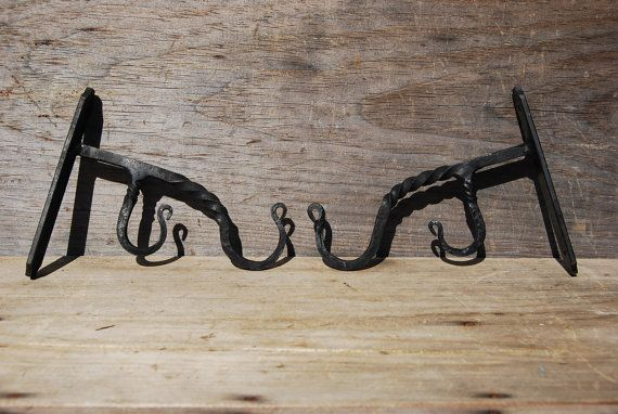Blacksmithed Double Curtain Rod Hooks Pair by Psychedelphia
