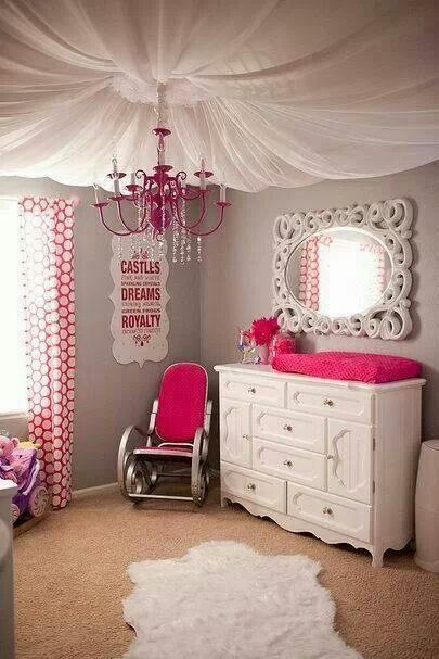 Nursery - pale gray, white and hot pink Scroll mirror, polka dot curtains, rocking chair, chandelier and romantic ceiling