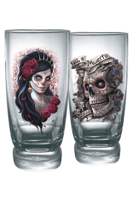 This set of 2 glasses is detailed with Dia de Los Muertos, the Mexican celebration of souls long since departed and those they have left behind. The glasses by Spiral Direct make an excellent gothic gift and measure 14.