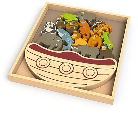 Begin Again Toys Balance Boat Endangered Animals Wooden