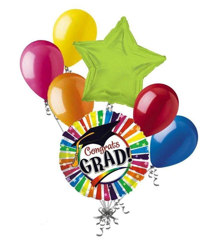 7 pc Rainbow Stripe Graduation Balloon Bouquet Congratulations Congrats Degree – CK17XXGMDZQ