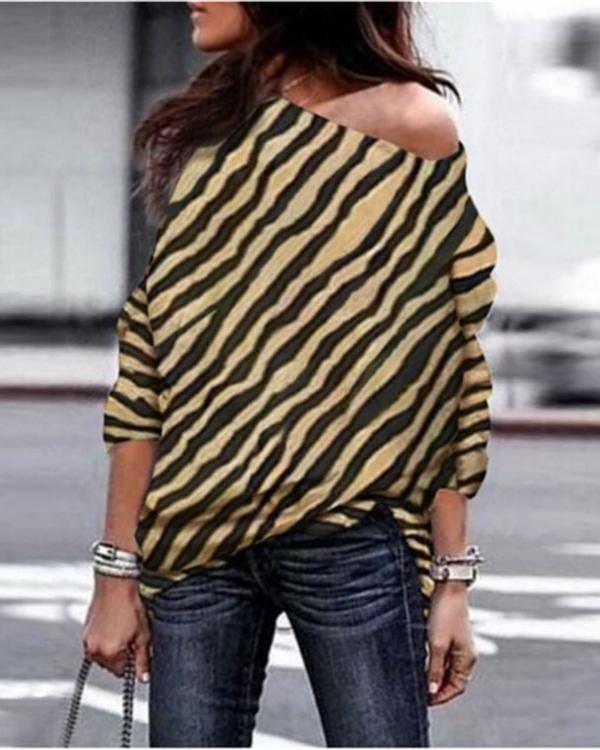 c142efcfaff0d Plus Size Zebra Printed Off Shoulder T-shirt – lalasgal