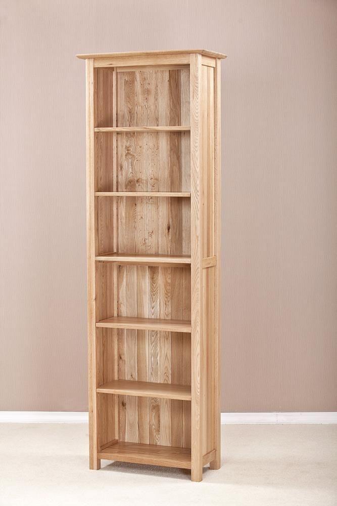 Milano Oak Bookcase 6ft Narrow Bookcase Oak Display Cabinet