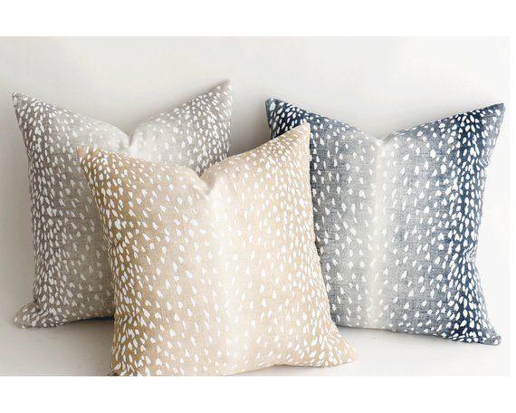 Fawn Collection Linen Antelope Throw Pillow Covers Animal Print Pillows A030 Blue Throw Pillows Throw Pillow Covers 20x20 White Throw Pillows