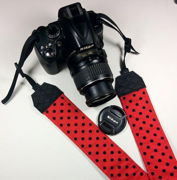 Tracolla per fotocamera SLR, DSLR, imbottita, in cotone rosso a pois neri. Tracolla stile retrò Pin Up