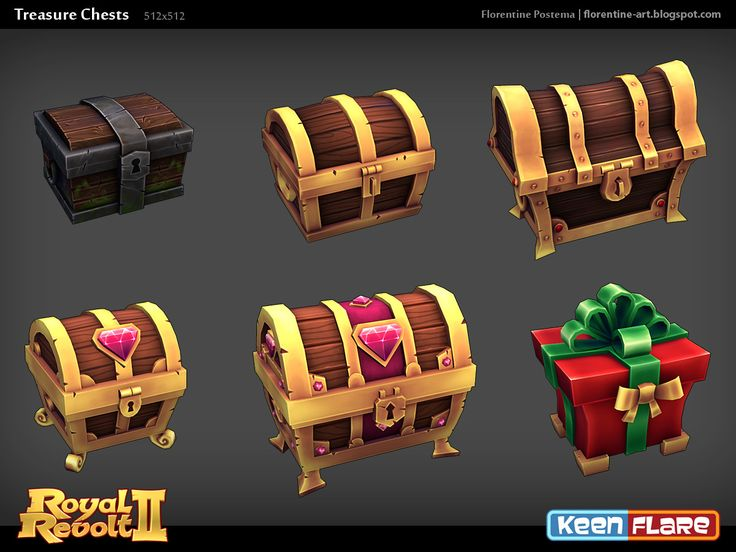 Royal Revolt 2 Treasure Chests, Florentine Postema on ArtStation at https://www.artstation.com/artwork/5dr3W