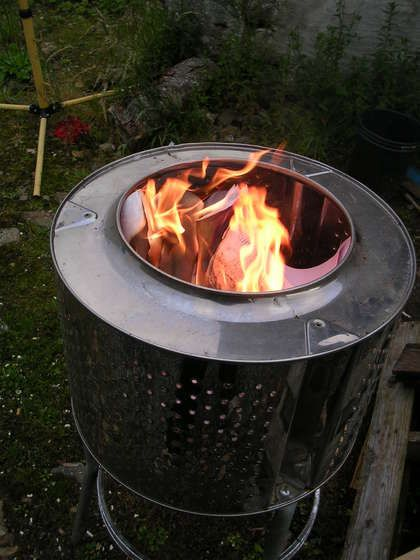 Patio Heater or Garden Incinerator from a Recycled Washing Machine - Just need the stainless steel drum from a front loading automatic machine or a tumble dryer