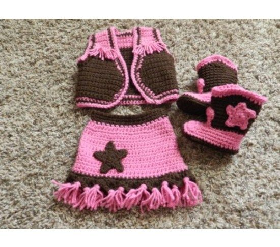 Cowgirl Outfit with Boots for sale. Similar  pattern for sale here: http://www.ravelry.com/patterns/library/cowboy--cowgirl-accessories