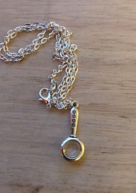 Mini Magnifying Glass Pendant Charm NECKLACE SHERLOCK INSPIRED  | eBay