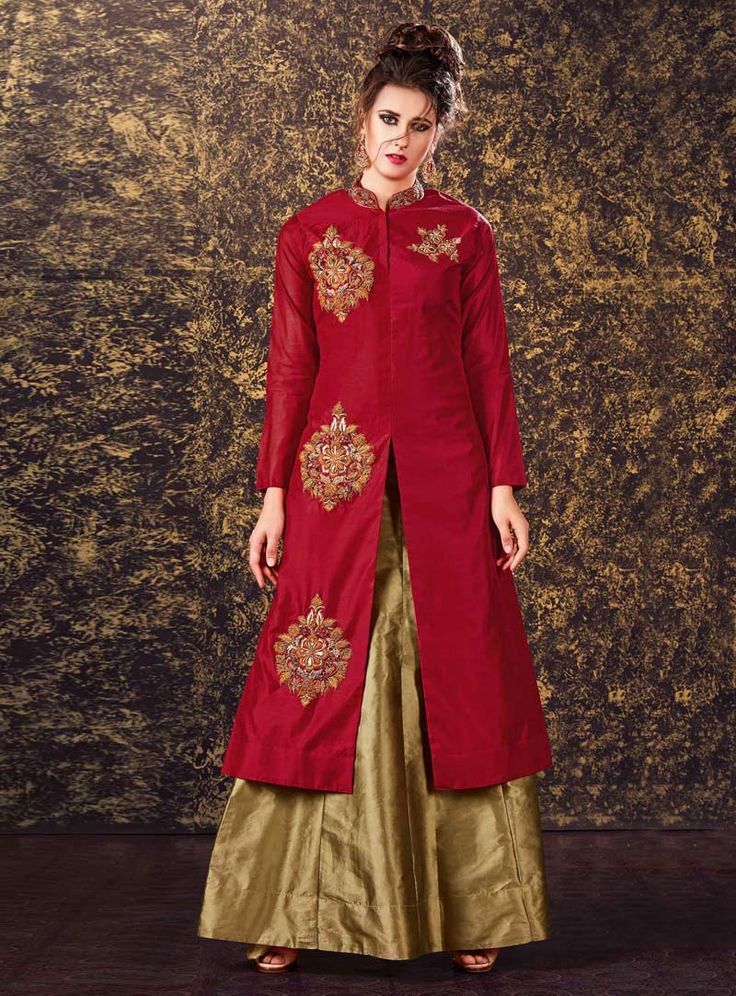 Red Silk Readymade Lehenga With Long Choli 89912