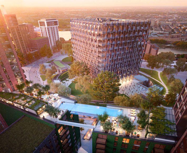 В Лондоне анонсирован план строительства бассейна, парящего на высоте 35 метров | WorldBuild365