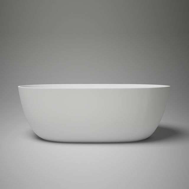 """halo petite 59"""" blu·stone™ freestanding bathtub. New to the blu•stone™ collection, halo petite transitional bathtub stands at 59"""" foot long with a compact 27½"""" width, designed to deliver that much sought-after freestanding tub experience in smaller spaces such as condo bathrooms. The end drain provides further design flexibility for versatile right or left drain installation."""