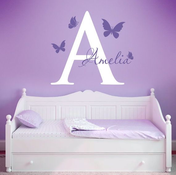 Inital And Butterflies Wall Decals, Butterfly Nursery Wall Decals,  Personolized Butterfly Decals, Butterfly Wall Stickers, Girls Room Decals