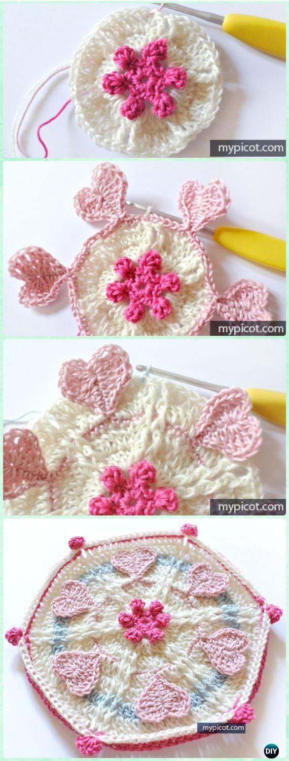 Crochet Hexagon Heart Motif Free Pattern for blanket - Crochet Hexagon Motif Free Patterns