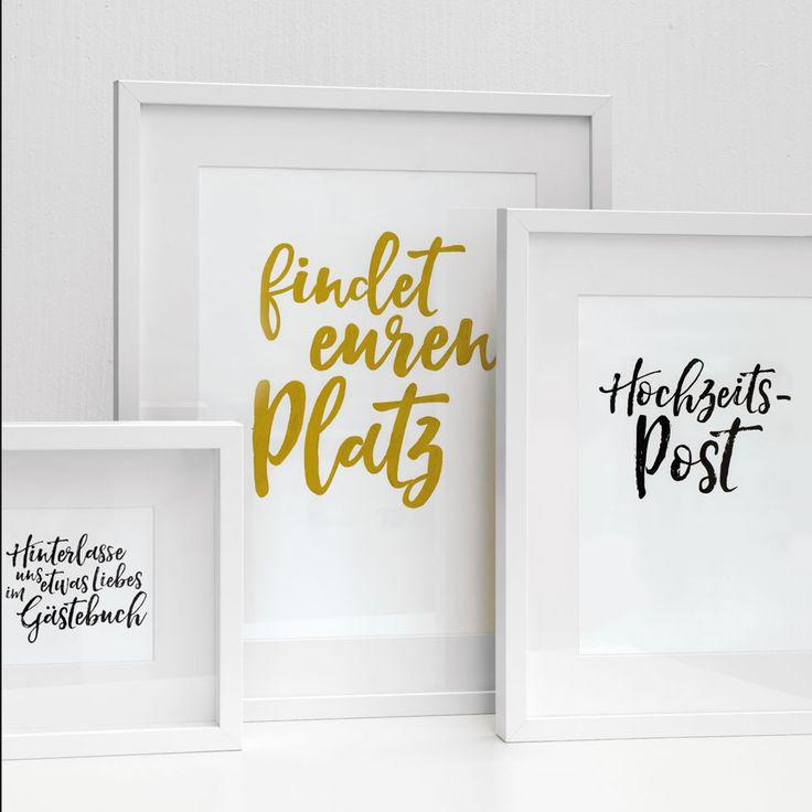 Mit unseren Vorlagen könnt ihr ganz schnell tolle Hochzeitsschilder ausdrucken oder daraus Holzschilder sowie Tafelschilder selbst herstellen.