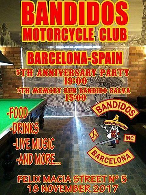 Bandidos Motorcycle Club Barcelona-Spain 5th Anniversary Party y 5th Memory Run Bandido Salva organizado por Bandidos MC Barcelona en Barcelona.
