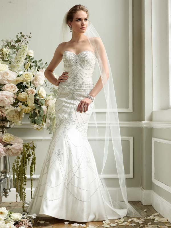 Cool David us Bridal Wedding Dress Fit and Flare Sweetheart Gown with Allover Beading Style