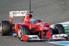 Alonso in the new Ferrari.  I see what they mean about ugly noses on the cars.