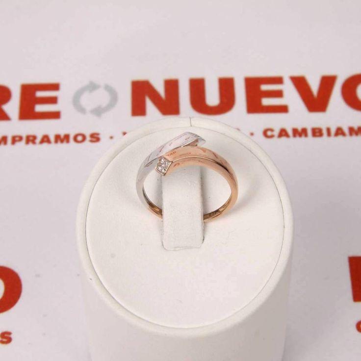 Anillo de oro rosa y oro blanco con 10 brillantes E263108 de segunda mano #anillodeoro #rosayblanco #segundamano