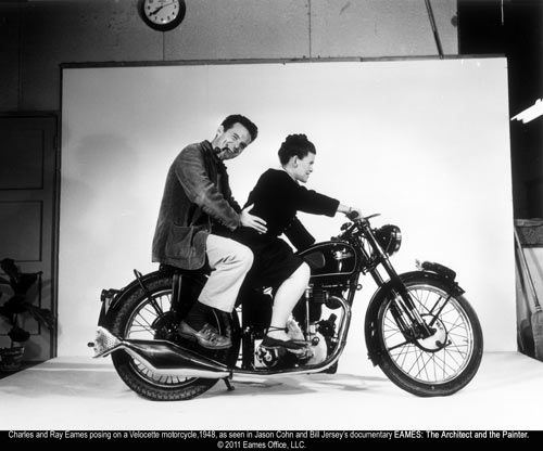 Charles and Ray Eames on a Velocette Motorcycle belonging to the son of their friend, Warren Kerkman (ca 1948).