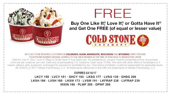 RUNNNN!!! FREE COLD STONE ICE CREAM !!!
