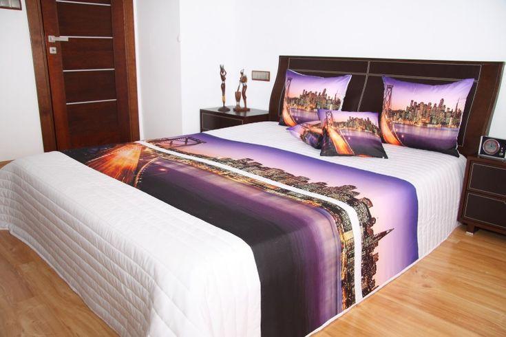 Fialový prehoz na posteľ s motívom San Francisco