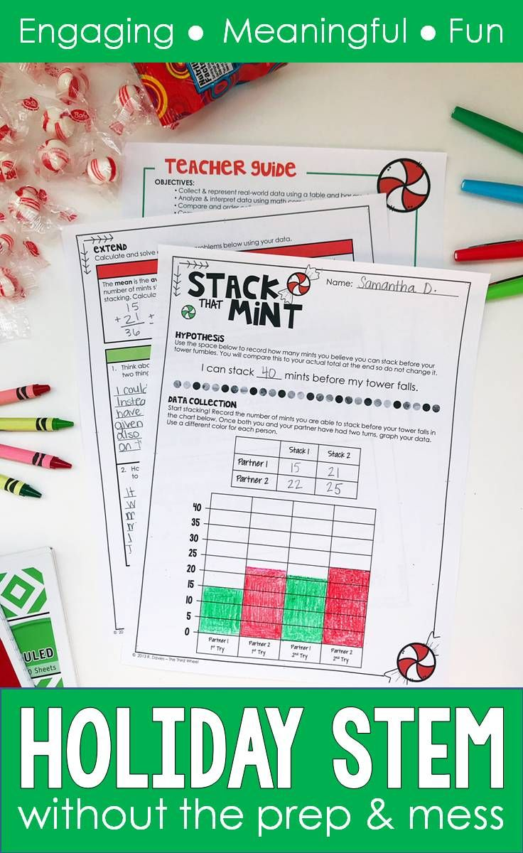 December STEM is a fun way to bring some excitement to math for kids this holiday season. Your 3rd, 4th, and 5th grade students need something engaging to capture their attention as Christmas appropaches. This December STEM activity is the perfect challenge and it requires almost no prep and makes no mess. How many STEM activities can say that? This holiday season build some fun math practice into your lesson plans with peppermint candy stacking.