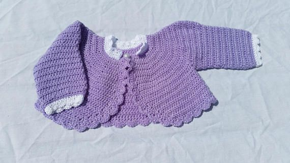 Hand crocheted lilac bolero scalloped edging pearl button