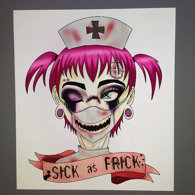 New design is going on my RedBubble! If anyone is interested in buying anything on my site let me know! 💀💕💉 #sick #sickasfrick #zombie #zombiegirl #zombienurse #stickers #redbubble #gore #guro #kawaiiguro #kimokawaii