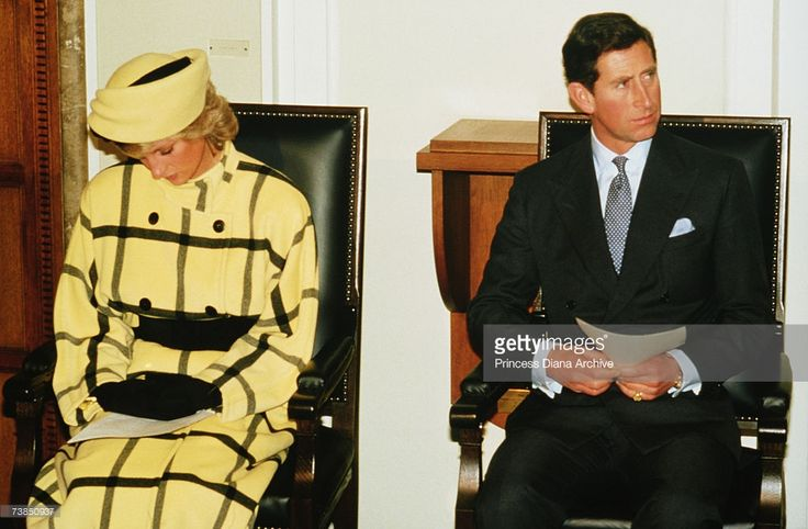 Princess Diana (1961 - 1997) with Prince Charles at a ceremony at the Rotes Rathaus, Berlin, November 1987. The princess is wearing an Escada coat with a hat by Philip Somerville.